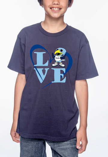Love Hawk Youth Lightweight Tee Navy