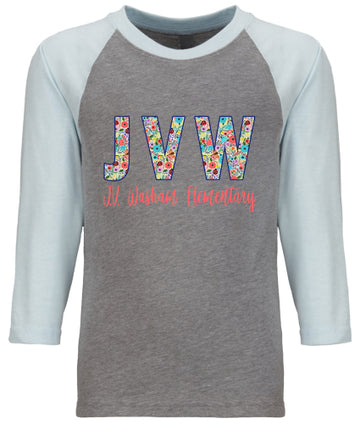JVW Floral 1 Light Blue/ Gray  YOUTH CVC 3/4 RAGLAN