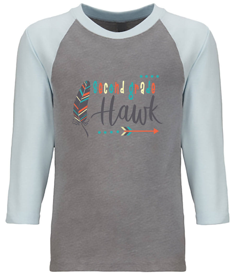 Second Grade Light Blue/ Gray  YOUTH CVC 3/4 RAGLAN
