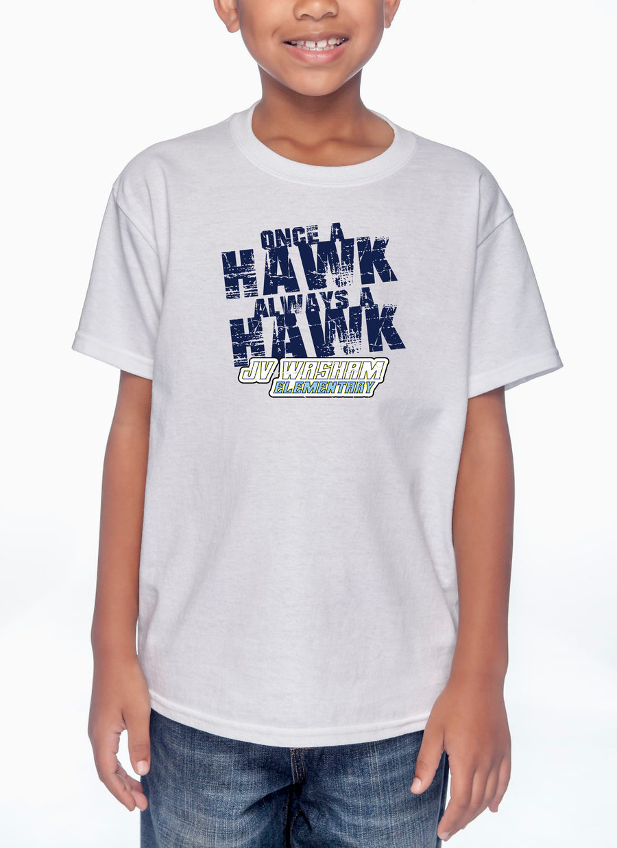 Always a Hawk Youth Lightweight Tee White