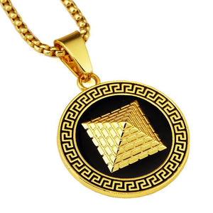 Gold Pyramid Pendant with Chain