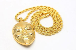18k Gold Anonymous V for Vendetta Mask Pendant (with chain) - Capital Bling