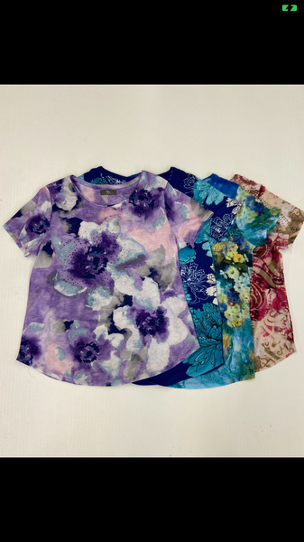 LADIES SS T-shirt assorted Prints 2-20143