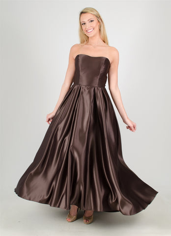 Brown Satin Dress Size 14