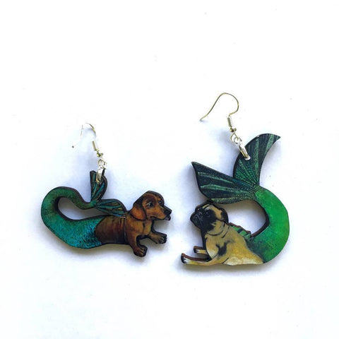 Pug-Dachshund Mismatched Earrings