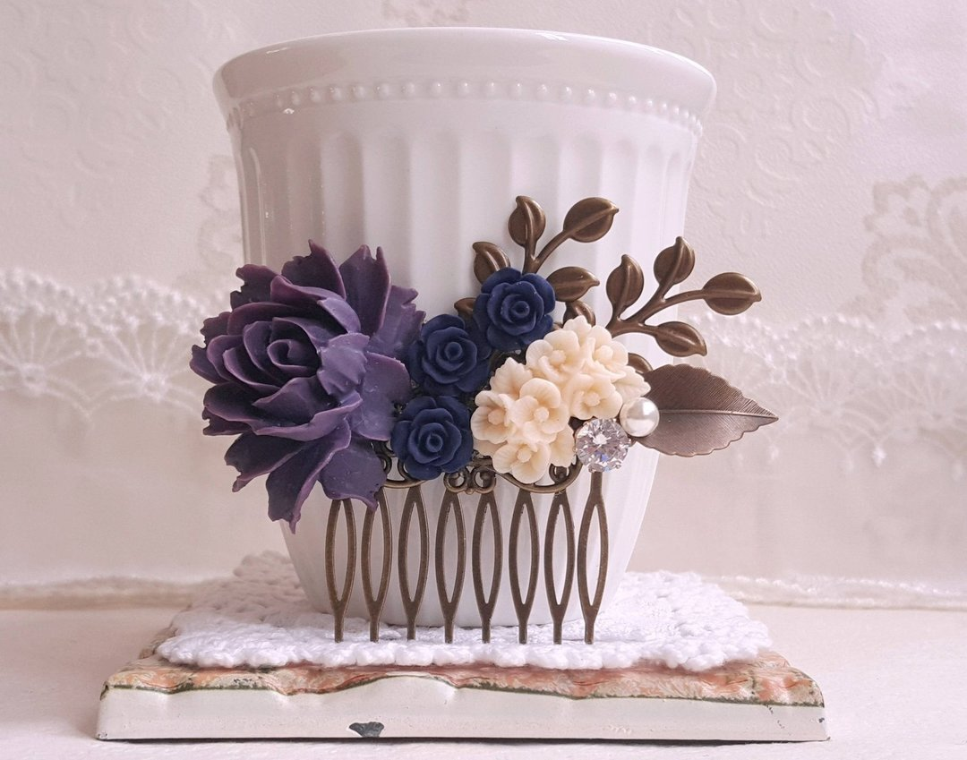 Deep Purple and Navy Rose Hair Comb