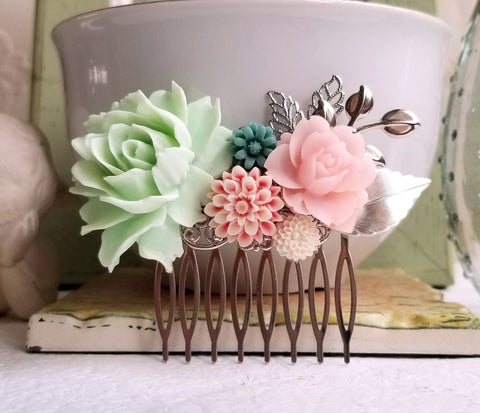 Mint Green and Pink Hair Comb