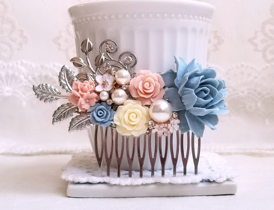 Silver Dusty Blue and Pink Hair Comb