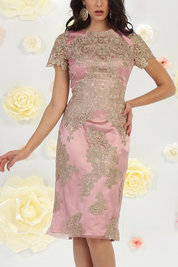 Mauve Formal Dress with Lace Overlay