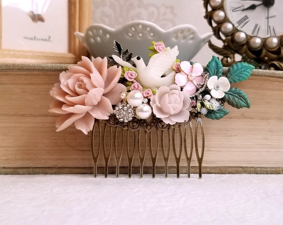 Floral Dove Hair Comb