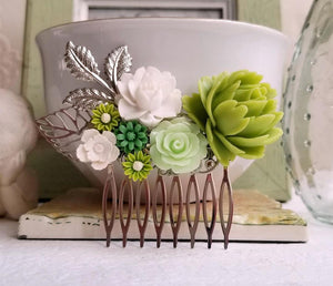 Green and Mint Floral Hair Comb