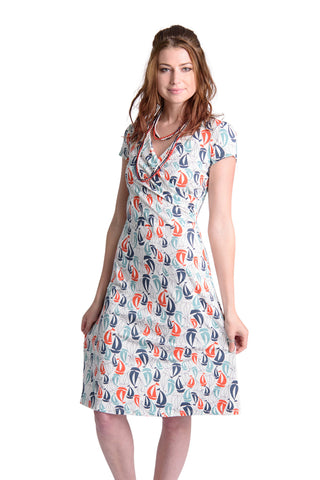 Sail Boat Faux Wrap Dress