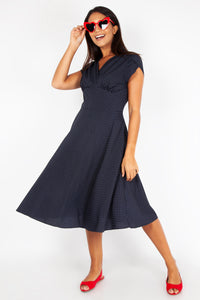 Navy/White Tabby Flare Dress