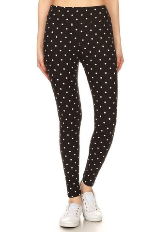Plus Size Black Polka Dot Leggings