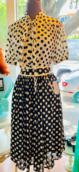 B/W Polka Dot Skirt