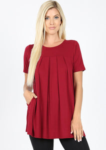 Cabernet Pleated Top