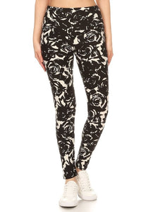 One Size B/W Floral Leggings