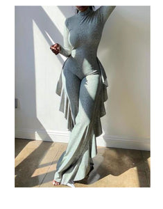 Long Sleeve Ruffled Jumpsuit