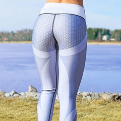 Honeycomb Mesh Pattern Print Leggings