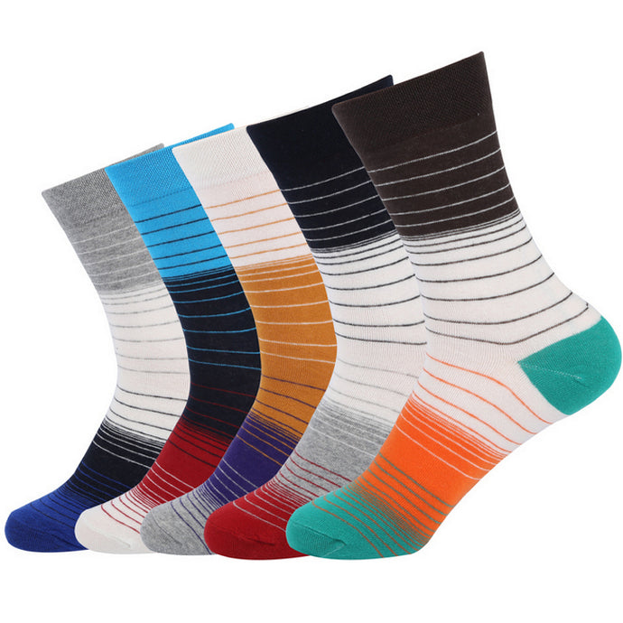 C10: Men's Cotton Stripe-Pattern Long Socks - 5 pairs