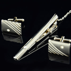 D01: Inset Diamond Tie Clip & Cufflinks Set