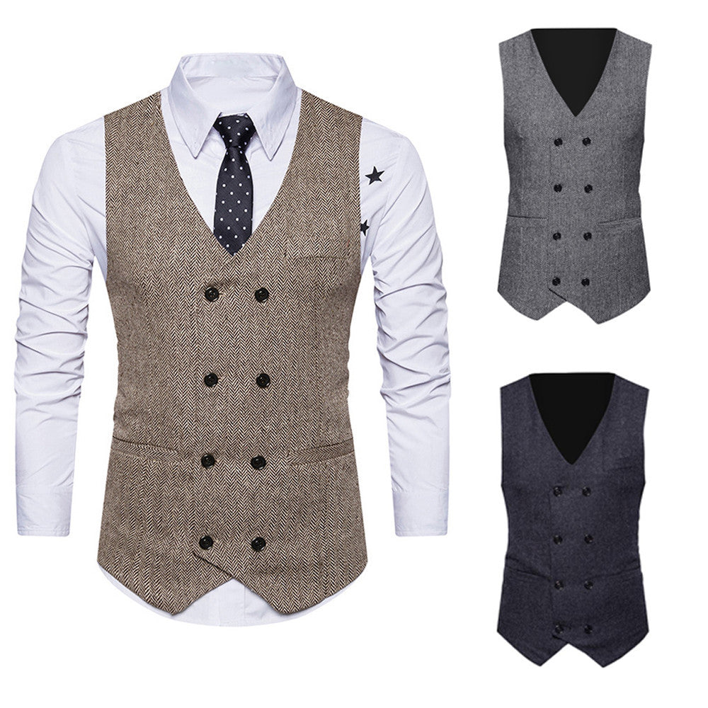F: Men's Formal Tweed Double Breasted Slim Fit Waistcoat