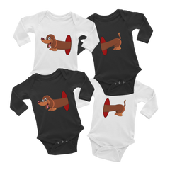 Dachshund inside hole Twin Infant Long Sleeve Bodysuit