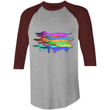 Load image into Gallery viewer, Dachlove.com Colourful Raglan - 3/4 Sleeve T-Shirt, T-shirt- Dachshundloversonline  brings together dachshund merchandise, original and unique designed sausage dog gifts, accessories from all around the world.  The perfect addition to your dachshund loving home.  Find it in one store where you can buy them online and free shipping worldwide to your doorstep.