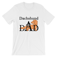 Load image into Gallery viewer, Dachlove.com Dachshund DAD Short-Sleeve T-Shirt for Men Black Font, T-shirt- Dachshundloversonline  brings together dachshund merchandise, original and unique designed sausage dog gifts, accessories from all around the world.  The perfect addition to your dachshund loving home.  Find it in one store where you can buy them online and free shipping worldwide to your doorstep.