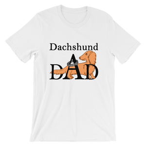 Dachlove.com Dachshund DAD Short-Sleeve T-Shirt for Men Black Font, T-shirt- Dachshundloversonline  brings together dachshund merchandise, original and unique designed sausage dog gifts, accessories from all around the world.  The perfect addition to your dachshund loving home.  Find it in one store where you can buy them online and free shipping worldwide to your doorstep.