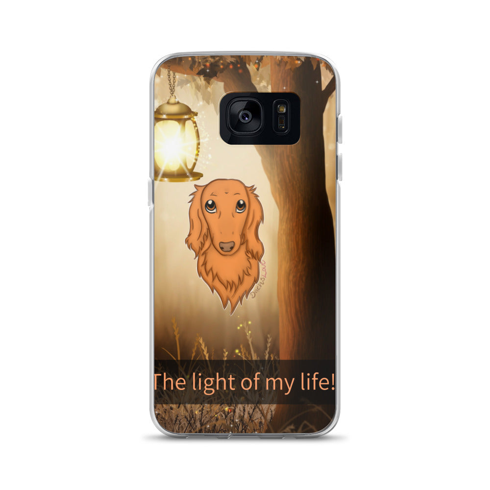 Dachlove.com Samsung Case My Dachshund the Light of my Life, Cases- Dachshundloversonline  brings together dachshund merchandise, original and unique designed sausage dog gifts, accessories from all around the world.  The perfect addition to your dachshund loving home.  Find it in one store where you can buy them online and free shipping worldwide to your doorstep.