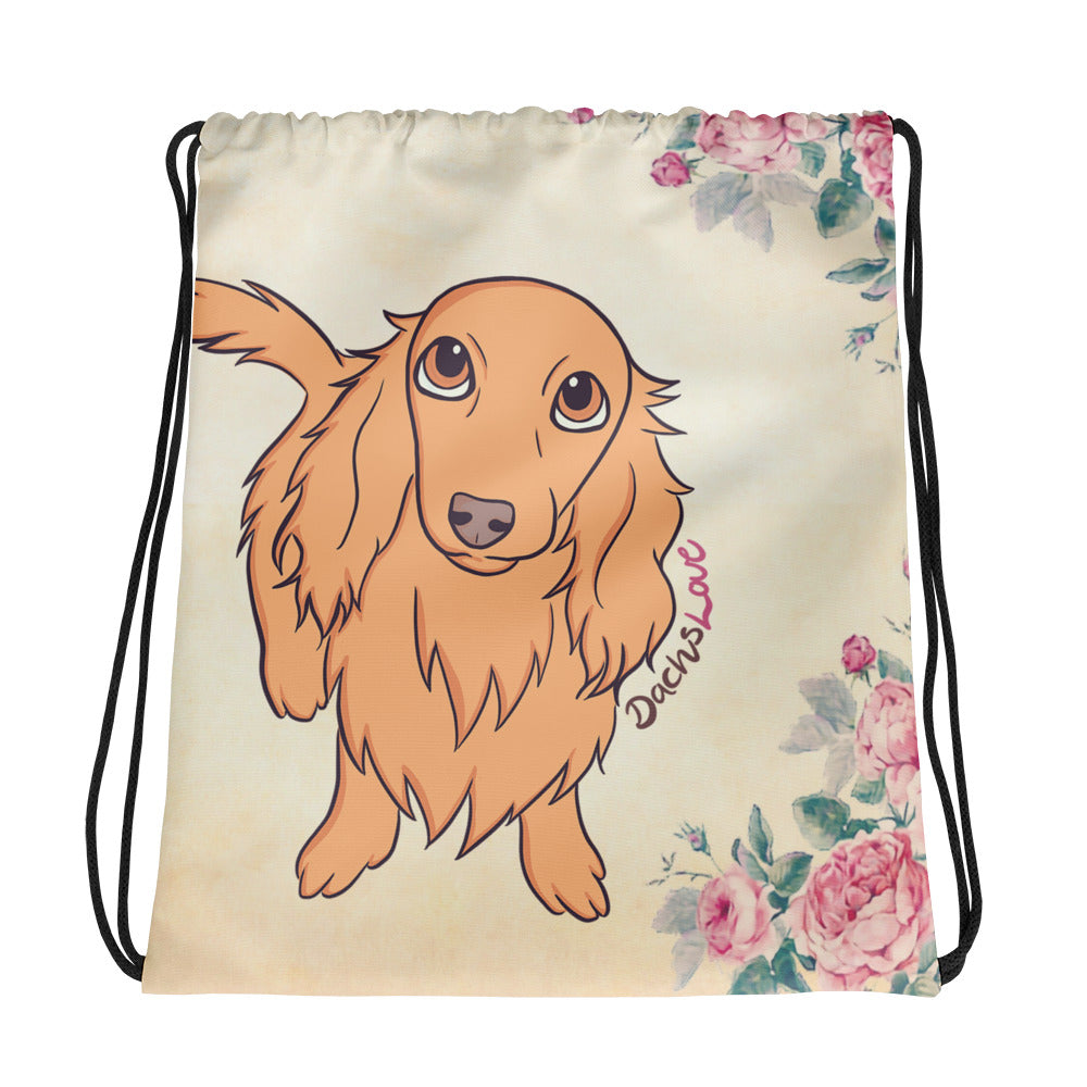 Dachlove.com Beautiful Dachshund Bouquet Pink Roses Drawstring bag, Drawstring Bag- Dachshundloversonline  brings together dachshund merchandise, original and unique designed sausage dog gifts, accessories from all around the world.  The perfect addition to your dachshund loving home.  Find it in one store where you can buy them online and free shipping worldwide to your doorstep.