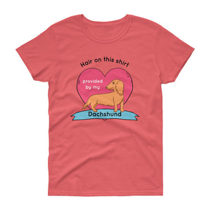 Dachlove.com Hair on this shirt provided by my Dachshund Women's short sleeve t-shirt, T-shirt- Dachshundloversonline  brings together dachshund merchandise, original and unique designed sausage dog gifts, accessories from all around the world.  The perfect addition to your dachshund loving home.  Find it in one store where you can buy them online and free shipping worldwide to your doorstep.