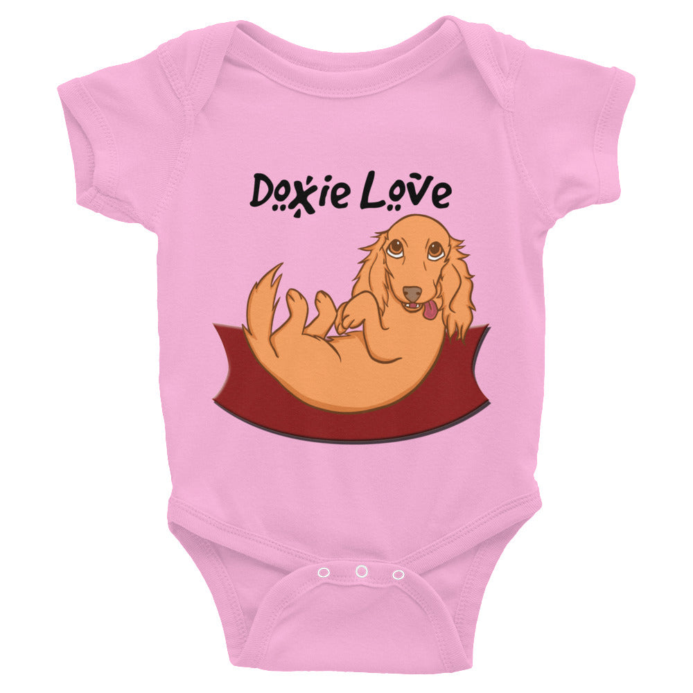 Dachlove.com Doxie Love Baby Infant Bodysuit Pink, Bodysuit- Dachshundloversonline  brings together dachshund merchandise, original and unique designed sausage dog gifts, accessories from all around the world.  The perfect addition to your dachshund loving home.  Find it in one store where you can buy them online and free shipping worldwide to your doorstep.