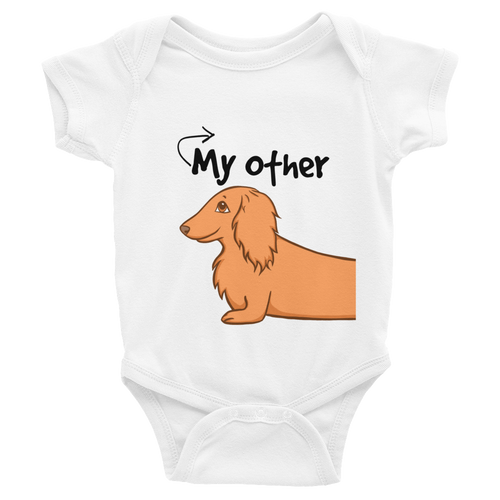 Dachlove.com My Other Dachshund Print Body for Twin Baby Infant Bodysuit, Bodysuit- Dachshundloversonline  brings together dachshund merchandise, original and unique designed sausage dog gifts, accessories from all around the world.  The perfect addition to your dachshund loving home.  Find it in one store where you can buy them online and free shipping worldwide to your doorstep.