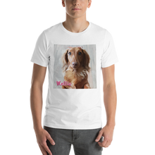 Load image into Gallery viewer, Dachlove.com Customized Short Sleeve Unisex T-Shirt, Custom Items- Dachshundloversonline  brings together dachshund merchandise, original and unique designed sausage dog gifts, accessories from all around the world.  The perfect addition to your dachshund loving home.  Find it in one store where you can buy them online and free shipping worldwide to your doorstep.