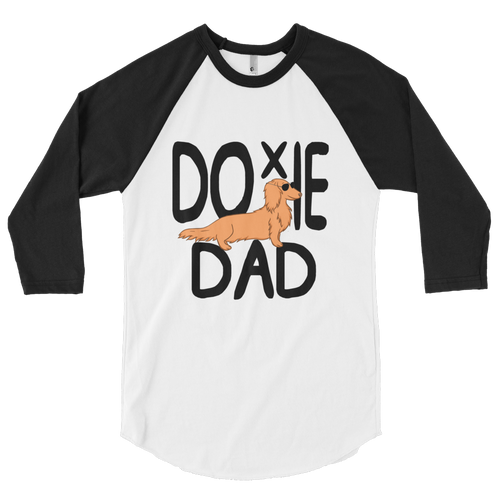 Dachlove.com Doxie Dad 3/4 sleeve raglan shirt, Sweatshirt- Dachshundloversonline  brings together dachshund merchandise, original and unique designed sausage dog gifts, accessories from all around the world.  The perfect addition to your dachshund loving home.  Find it in one store where you can buy them online and free shipping worldwide to your doorstep.