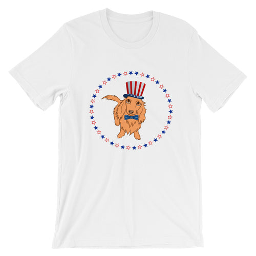 Dachlove.com Dachshund Independence Day 4th of July Unisex T-Shirt, T-shirt- Dachshundloversonline  brings together dachshund merchandise, original and unique designed sausage dog gifts, accessories from all around the world.  The perfect addition to your dachshund loving home.  Find it in one store where you can buy them online and free shipping worldwide to your doorstep.