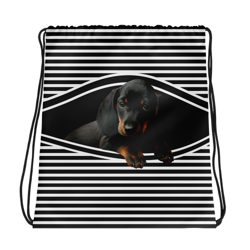Dachlove.com Dachshund Sneak Peek in my Drawstring bag, Drawstring Bag- Dachshundloversonline  brings together dachshund merchandise, original and unique designed sausage dog gifts, accessories from all around the world.  The perfect addition to your dachshund loving home.  Find it in one store where you can buy them online and free shipping worldwide to your doorstep.