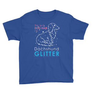 Dachlove.com Youth Short Sleeve - Dachshund Glitter T Shirt, T-shirt- Dachshundloversonline  brings together dachshund merchandise, original and unique designed sausage dog gifts, accessories from all around the world.  The perfect addition to your dachshund loving home.  Find it in one store where you can buy them online and free shipping worldwide to your doorstep.