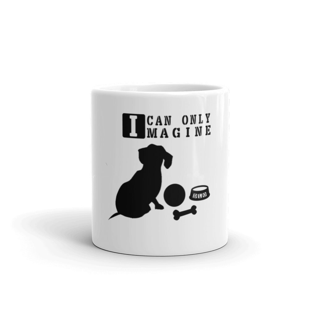 Dachlove.com I Can Only Imagine Dachshund Sitting Coffee Mug, Mug- Dachshundloversonline  brings together dachshund merchandise, original and unique designed sausage dog gifts, accessories from all around the world.  The perfect addition to your dachshund loving home.  Find it in one store where you can buy them online and free shipping worldwide to your doorstep.