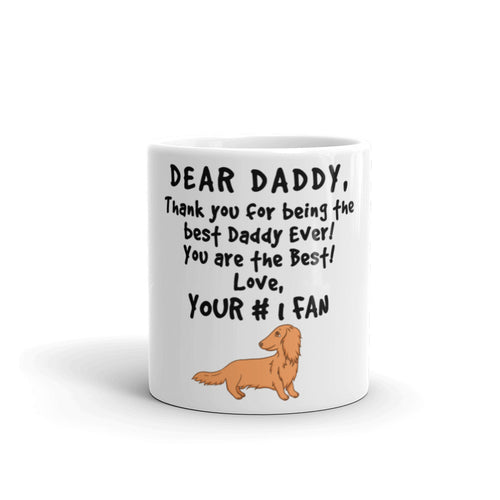 Dachlove.com Best Dachshund Daddy Ever Mug, Mug- Dachshundloversonline  brings together dachshund merchandise, original and unique designed sausage dog gifts, accessories from all around the world.  The perfect addition to your dachshund loving home.  Find it in one store where you can buy them online and free shipping worldwide to your doorstep.