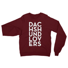 Load image into Gallery viewer, Dachlove.com Dachshund Lovers Unisex California Fleece Raglan Sweatshirt, Sweatshirt- Dachshundloversonline  brings together dachshund merchandise, original and unique designed sausage dog gifts, accessories from all around the world.  The perfect addition to your dachshund loving home.  Find it in one store where you can buy them online and free shipping worldwide to your doorstep.