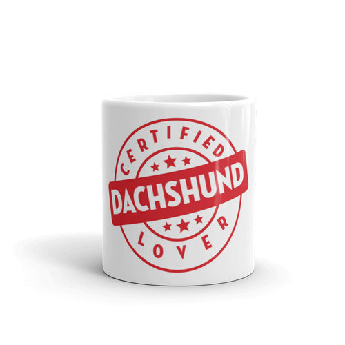Dachlove.com Certified Dachshund Lover Tea Coffee Mug, Mug- Dachshundloversonline  brings together dachshund merchandise, original and unique designed sausage dog gifts, accessories from all around the world.  The perfect addition to your dachshund loving home.  Find it in one store where you can buy them online and free shipping worldwide to your doorstep.