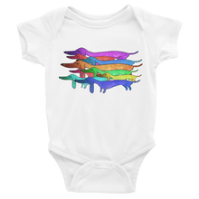 Load image into Gallery viewer, Dachlove.com Colorful Dachshund Infant Bodysuit, Bodysuit- Dachshundloversonline  brings together dachshund merchandise, original and unique designed sausage dog gifts, accessories from all around the world.  The perfect addition to your dachshund loving home.  Find it in one store where you can buy them online and free shipping worldwide to your doorstep.