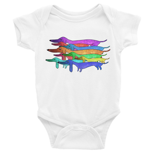 Dachlove.com Colorful Dachshund Infant Bodysuit, Bodysuit- Dachshundloversonline  brings together dachshund merchandise, original and unique designed sausage dog gifts, accessories from all around the world.  The perfect addition to your dachshund loving home.  Find it in one store where you can buy them online and free shipping worldwide to your doorstep.
