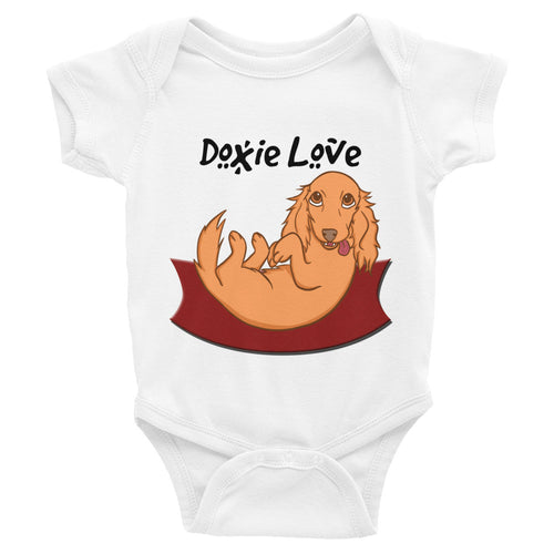 Dachlove.com Doxie Love Baby Infant Bodysuit White, Bodysuit- Dachshundloversonline  brings together dachshund merchandise, original and unique designed sausage dog gifts, accessories from all around the world.  The perfect addition to your dachshund loving home.  Find it in one store where you can buy them online and free shipping worldwide to your doorstep.