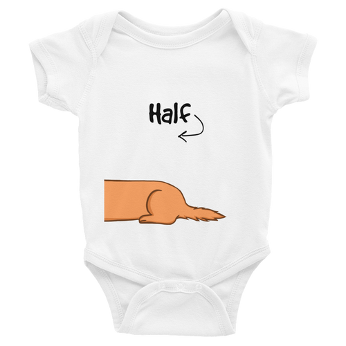 Dachlove.com Half Dachshund Print Body for Twin Baby Infant Bodysuit, Bodysuit- Dachshundloversonline  brings together dachshund merchandise, original and unique designed sausage dog gifts, accessories from all around the world.  The perfect addition to your dachshund loving home.  Find it in one store where you can buy them online and free shipping worldwide to your doorstep.