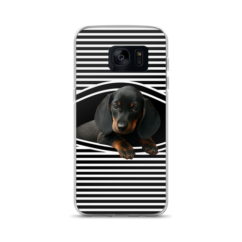 Dachlove.com Dachshund Sneak Peek in my Samsung Case, Cellphone Case- Dachshundloversonline  brings together dachshund merchandise, original and unique designed sausage dog gifts, accessories from all around the world.  The perfect addition to your dachshund loving home.  Find it in one store where you can buy them online and free shipping worldwide to your doorstep.