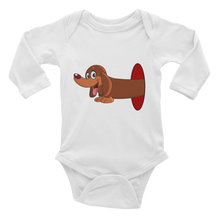 Load image into Gallery viewer, Dachlove.com Infant Baby Long Sleeve Bodysuit Dachshund Inside Hole Design, Bodysuit- Dachshundloversonline  brings together dachshund merchandise, original and unique designed sausage dog gifts, accessories from all around the world.  The perfect addition to your dachshund loving home.  Find it in one store where you can buy them online and free shipping worldwide to your doorstep.